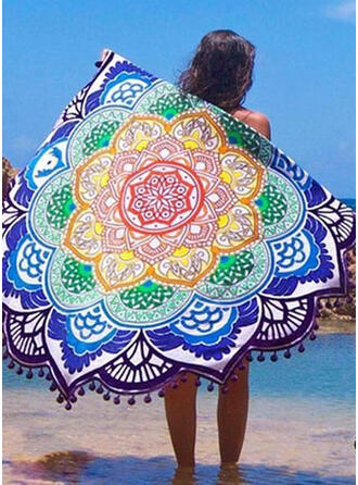 Tassel/Geometric Print round/attractive/Boho Beach Towel