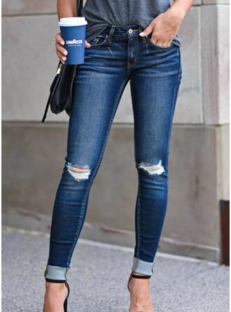 Shirred Übergröße Zerrissen Sexy Jahrgang Denim Jeans