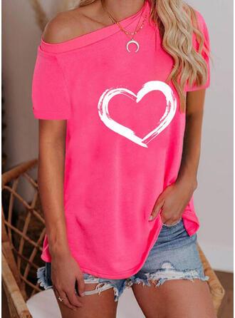 Herz Druck Eine-Schulter Kurze Ärmel T-Shirts