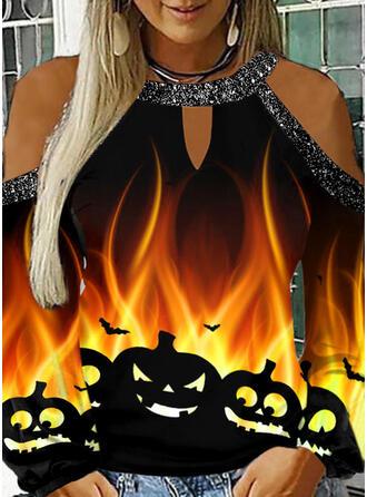 Drucken Pailletten Kalte Schulter Lange Ärmel Freizeit Das Halloween Blusen