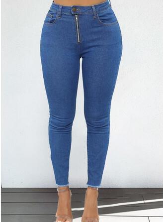 Einfarbig Übergröße Elegant Denim Jeans