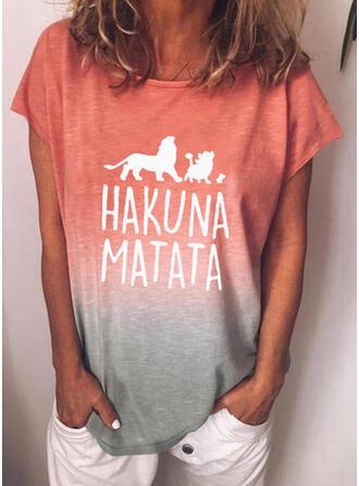 Mit Tierdruck Figur Gradient Rundhalsausschnitt Kurze Ärmel T-Shirts