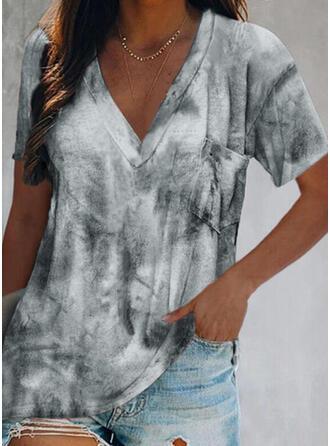 Tie Dye V-Ausschnitt Kurze Ärmel T-Shirts