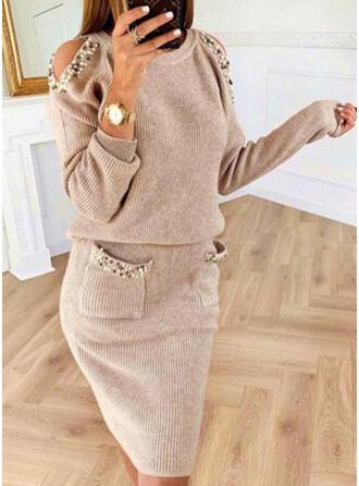 Einfarbig Taschen Perlen Kalte Schulter Freizeit Lang Pulloverkleid