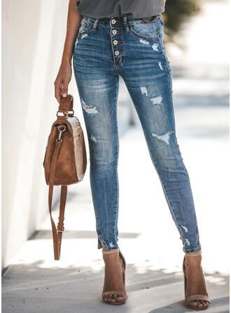 Taschen Zerrissen Lange Elegant Sexy Denim Jeans