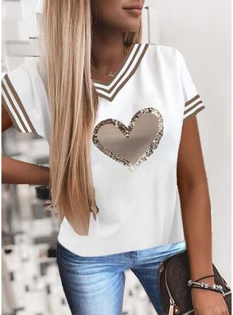Heart Print Sequins Striped V-Neck Short Sleeves T-shirts
