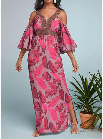Print 3/4 Sleeves Cold Shoulder Sleeve A-line Boho Maxi Dresses
