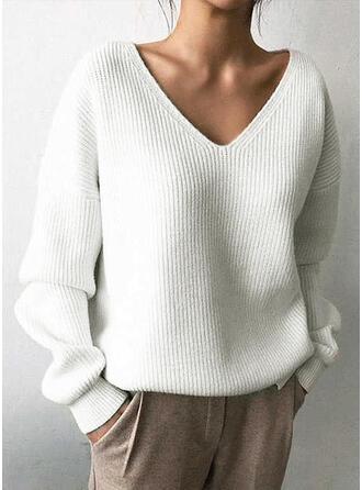 Einfarbig Gerippt V-Ausschnitt Pullover