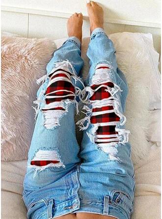 Kariert Übergröße Zerrissen Stammes Jahrgang Denim Jeans