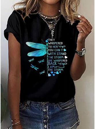 Mit Tierdruck Figur Herz Rundhalsausschnitt Kurze Ärmel T-Shirts