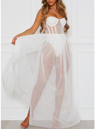 Polyester Einfarbig Mesh Ärmellos Sexy Rückenfrei Nachtkleid