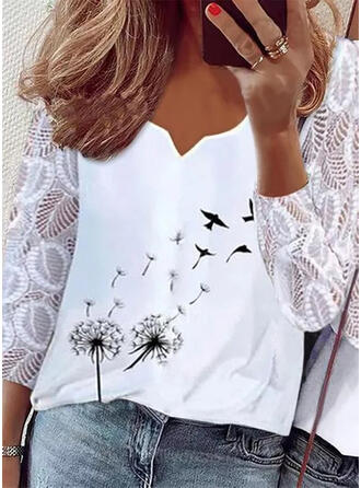 Print Animal Dandelion Lace V-Neck 3/4 Sleeves Elegant Blouses
