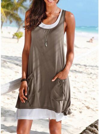 Einfarbig Träger Rundhalsausschnitt Sexy Übergröße Boho Strandmode Bademode