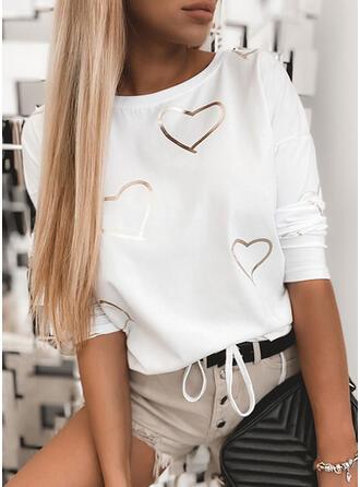 Herz Druck Rundhalsausschnitt Lange Ärmel T-Shirts