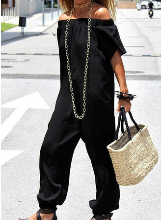 Einfarbig Off-Schulter Kurze Ärmel Lässige Kleidung Overall