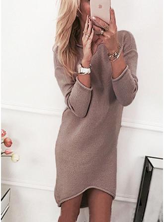 Einfarbig Rundhalsausschnitt Pulloverkleid