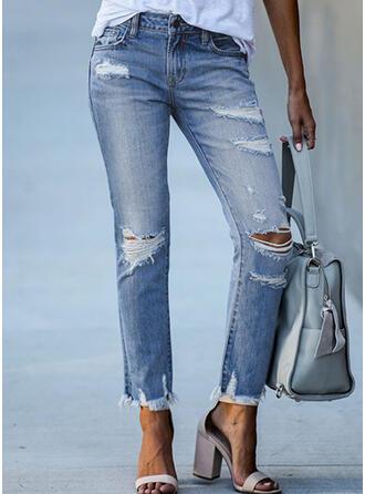 Zerrissen Quaste Elegant Stammes Denim Jeans