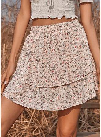 Polyester Print Floral Mini A-Line Skirts