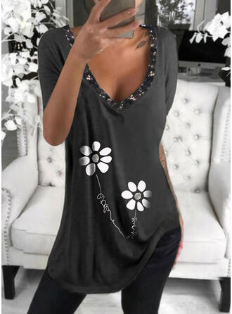 Figur Blumen Druck Pailletten V-Ausschnitt Kurze Ärmel T-Shirts