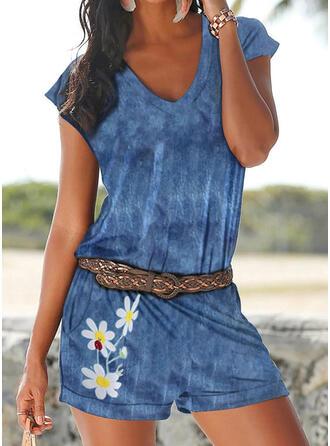 Blumen Druck V-Ausschnitt Kurze Ärmel Lässige Kleidung Urlaub Strampler