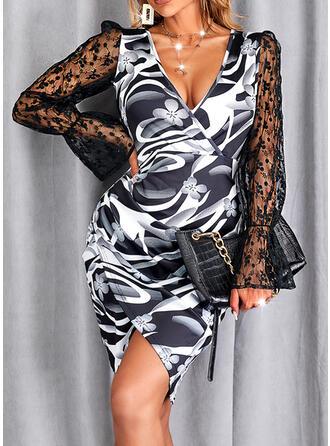 Print Lace Long Sleeves Puff Sleeve Sheath Above Knee Elegant Dresses