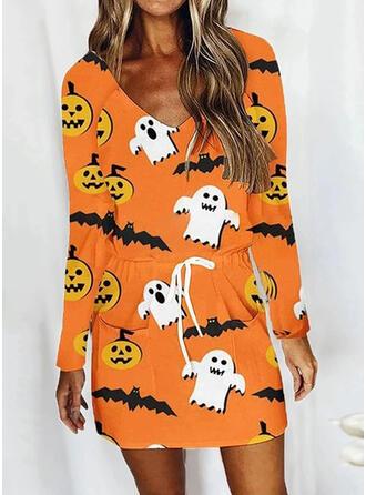 Halloween Print/Animal Long Sleeves Raglan Sleeve Sheath Above Knee Casual Dresses