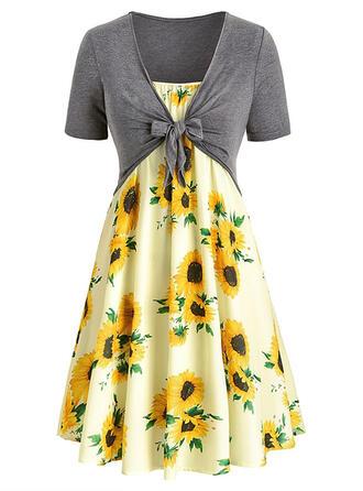 Sonnenblumendruck Kurze Ärmel A-Linien Knielang Freizeit/Elegant/Große Größen Kleider