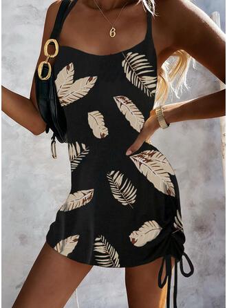 Print Sleeveless Bodycon Above Knee Sexy Slip Dresses
