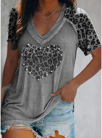 Perlen Leopard Herz V-Ausschnitt Kurze Ärmel T-Shirts