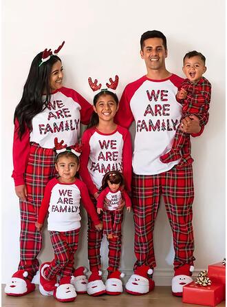Color Block Plaid Letter Print Family Matching Christmas Pajamas