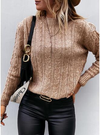 Einfarbig Zopfmuster Rundhals Freizeit Pullover