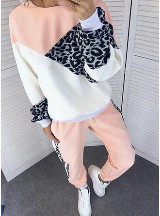 Leopard Color Block Sporty Casual Plus Size Sweatshirts & Two-Piece Outfits Set