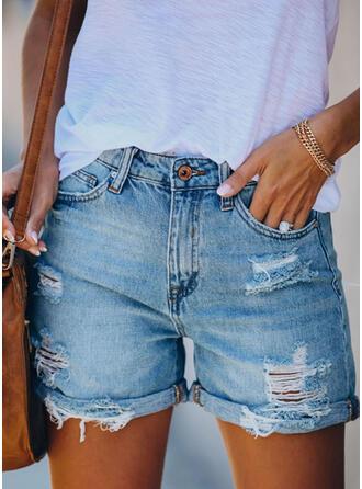Zerrissen Lässige Kleidung Jahrgang Kurze Hose Denim Jeans