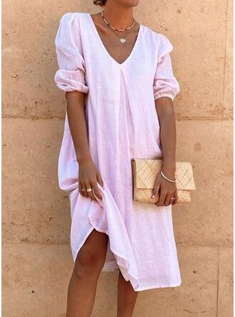 Einfarbig Kurze Ärmel/Puffärmel Shift Tunika Freizeit Midi Kleider