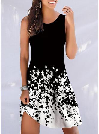 Print Sleeveless A-line Knee Length Casual/Vacation Skater Dresses