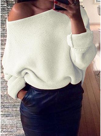 Einfarbig Off-Schulter Pullover