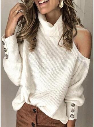 Einfarbig Rollkragen Kalte Schulter Freizeit Pullover