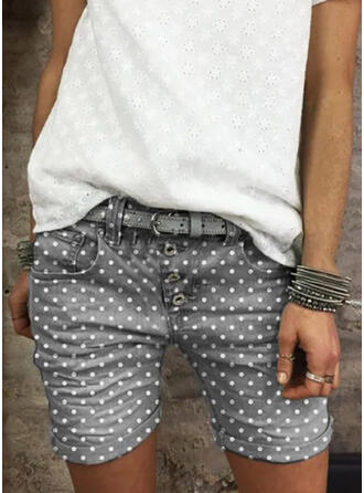 PolkaDot Above Knee Casual Vintage Plus Size Pocket Button Pants Shorts