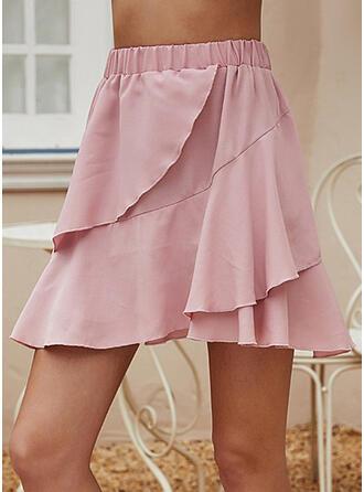 Baumwollmischungen Einfarbig Über dem Knie A-Linie Röcke