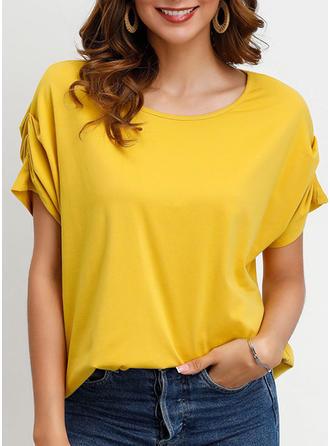 Einfarbig Rundhalsausschnitt Kurze Ärmel Freizeit Stricken T-shirts