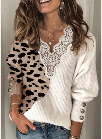 Geblockte Farben Spitze Leopard V-Ausschnitt Freizeit Pullover