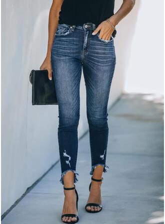Shirred Übergröße Elegant Dünn Denim Jeans