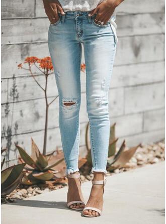 Shirred Übergröße Zerrissen Lange Elegant Sexy Denim Jeans