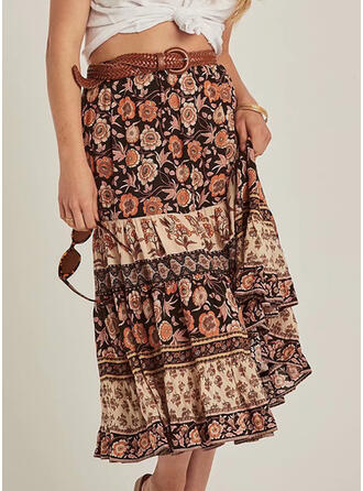 Chiffon Print Maxi Pleated Skirts