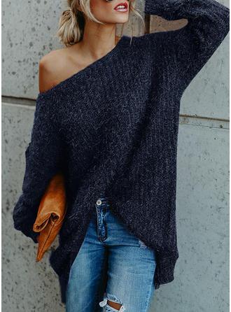 Einfarbig One-Shoulder Pulloverkleid