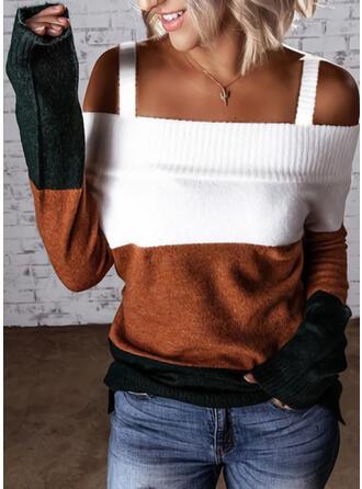 Geblockte Farben Kalte Schulter Freizeit Pullover