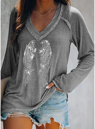 Pailletten V-Ausschnitt Lange Ärmel Freizeit T-shirts