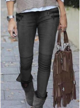 Solid Cotton Long Sexy Plus Size Shirred Pants Denim & Jeans
