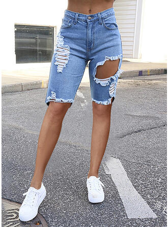 Solid Denim Knee-length Casual Vacation Plus Size Pocket Ripped Shorts Denim & Jeans