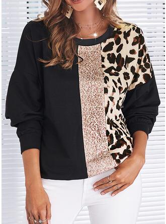 Print Color Block Leopard Round Neck Long Sleeves Sweatshirt
